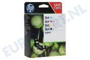 HP Hewlett-Packard 2509174 N9J73AE HP printer Inktcartridge No. 364 Combo 4-pack BK/C/M/Y Photosmart C5380, C6380