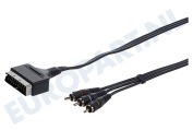 Scart Kabel 21p Male -> 3x Tulp RCA Male, 2.5 Meter