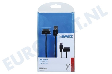 Spez  10154 USB Kabel Apple Dock connector, 120cm, Zwart