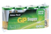 GP  03014AS4 Super Alkaline C Baby 1,5V , 4 stuks 1,5V -incl.verw.bijdrage-