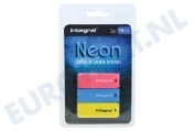 Integral INFD16GBNEONPKBLYL  Memory stick Triple pack 3 x 16Gb Neon Yellow, Pink & Blue Usb 2.0