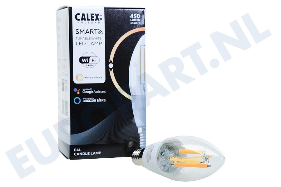 Calex  429030 Smart LED Filament Clear Kaarslamp B35 E14 Dimbaar