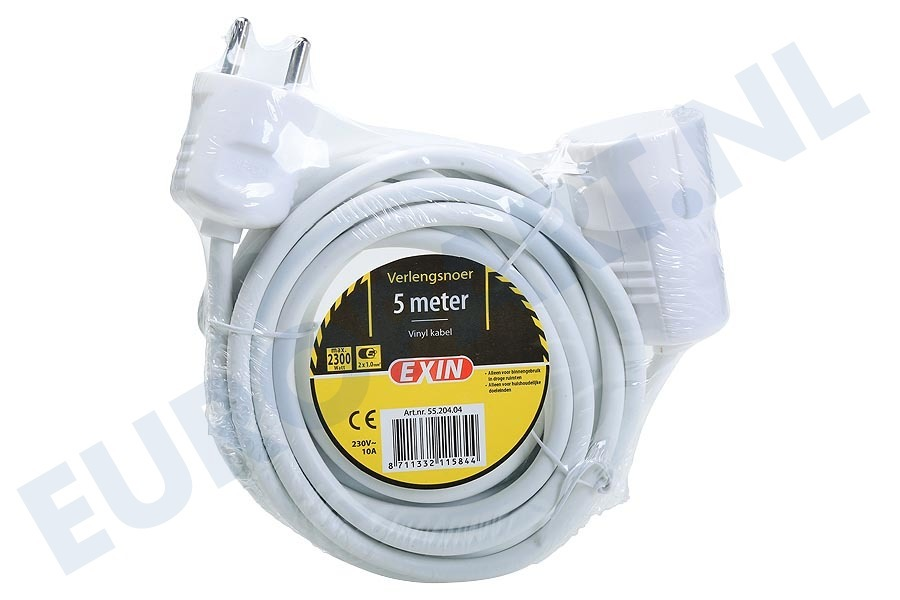 ETM  5520404 Snoer 2x1mm2 2500W wit 5M