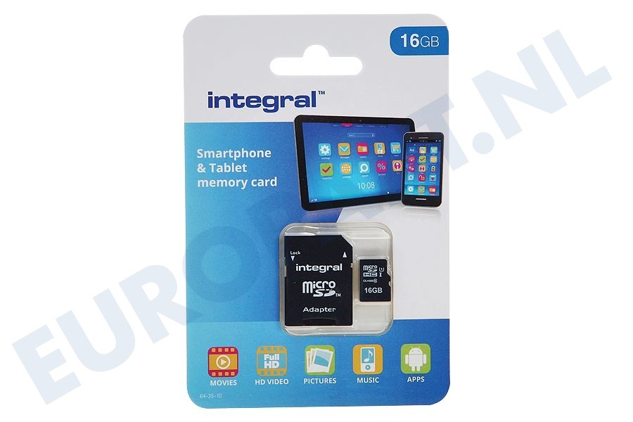 Integral  INMSDH16G10-90SPTAB Memory card Smartphone & Tablet, Class 10 (incl.SD adapter)